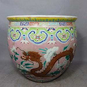 清代粉彩大雅斋双龙内外绘画卷缸