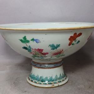 清代四季花卉内外绘画高脚折沿碗
