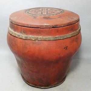 清代木质雕花桶