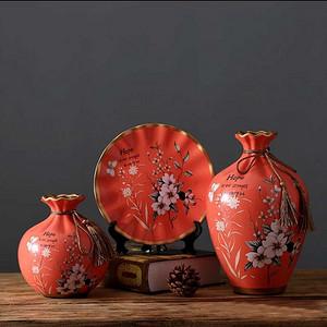 联盟商户 创意饰品陶瓷花瓶三件套
