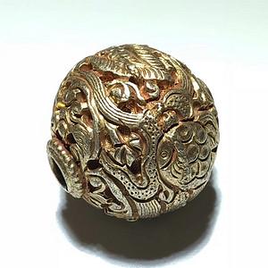 清晚期 银鎏金 蟠龙 珠子 手工錾刻 工艺精美 包浆厚重 过去贵族之物