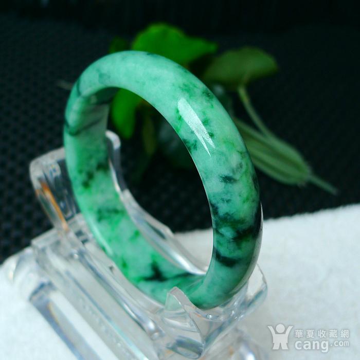 冰润满绿宽边手镯图5