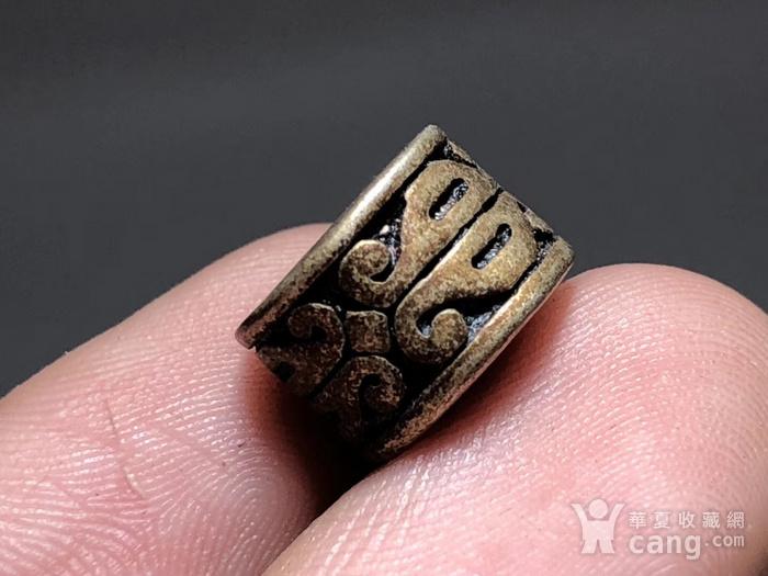 清 藏传 铜鎏银 桶珠 包浆老厚 手工雕刻 纹饰十分漂亮 包浆孔道 大图5