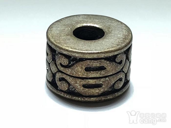 清 藏传 铜鎏银 桶珠 包浆老厚 手工雕刻 纹饰十分漂亮 包浆孔道 大图1