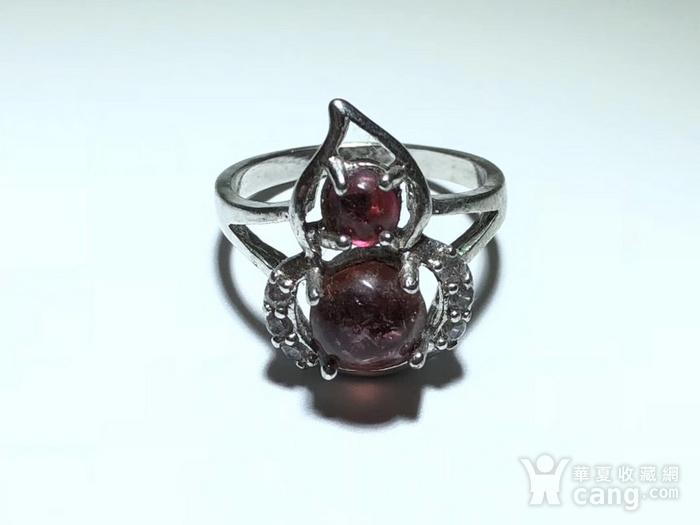 精品 天然 碧玺 葫芦形 戒指 纯净度不错 925银 托 佩白锆石 佩图2