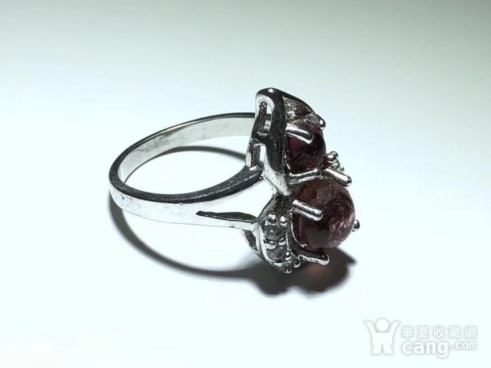 精品 天然 碧玺 葫芦形 戒指 纯净度不错 925银 托 佩白锆石 佩图3