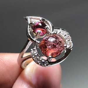 精品 天然 碧玺 葫芦形 戒指 纯净度不错 925银 托 佩白锆石 佩