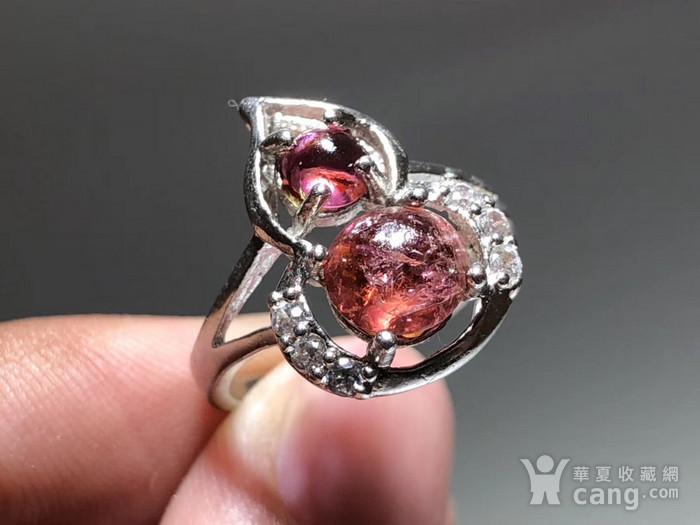 精品 天然 碧玺 葫芦形 戒指 纯净度不错 925银 托 佩白锆石 佩图1