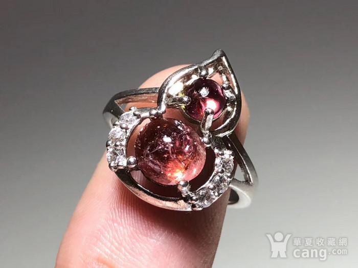 精品 天然 碧玺 葫芦形 戒指 纯净度不错 925银 托 佩白锆石 佩图5