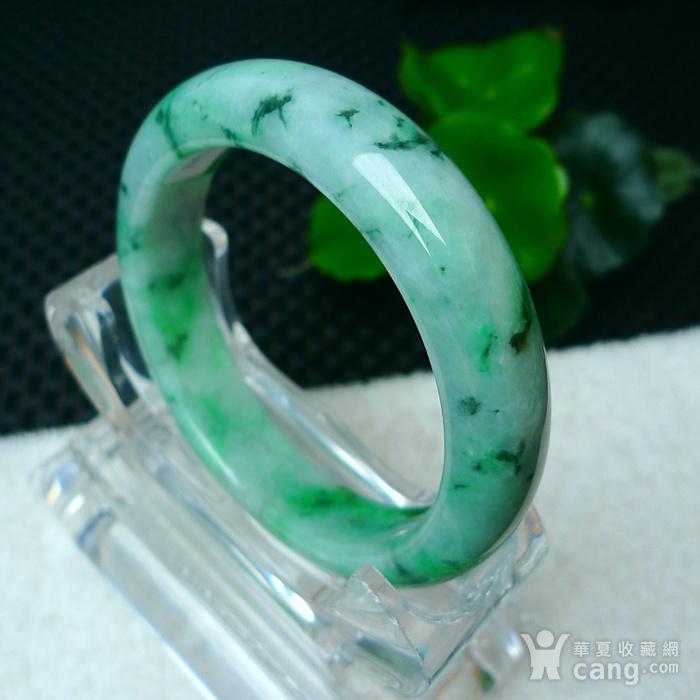 冰润飘绿宽边手镯图2