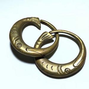 回流 清 铜鎏金 双鱼 耳环 手工雕刻 造型独特 十分少见 包浆老厚