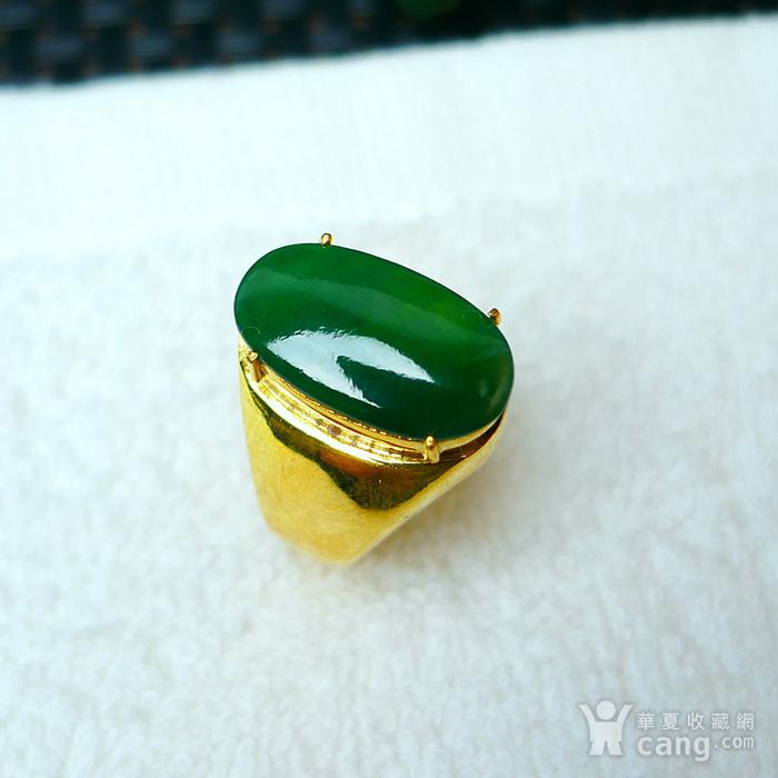 冰润满绿蛋型镶铜戒指图1