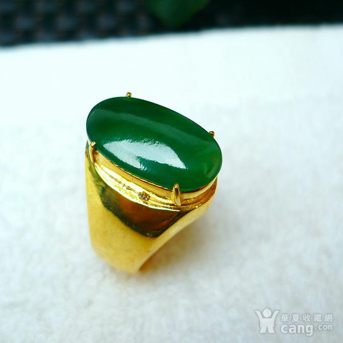 冰润满绿蛋型镶铜戒指图3