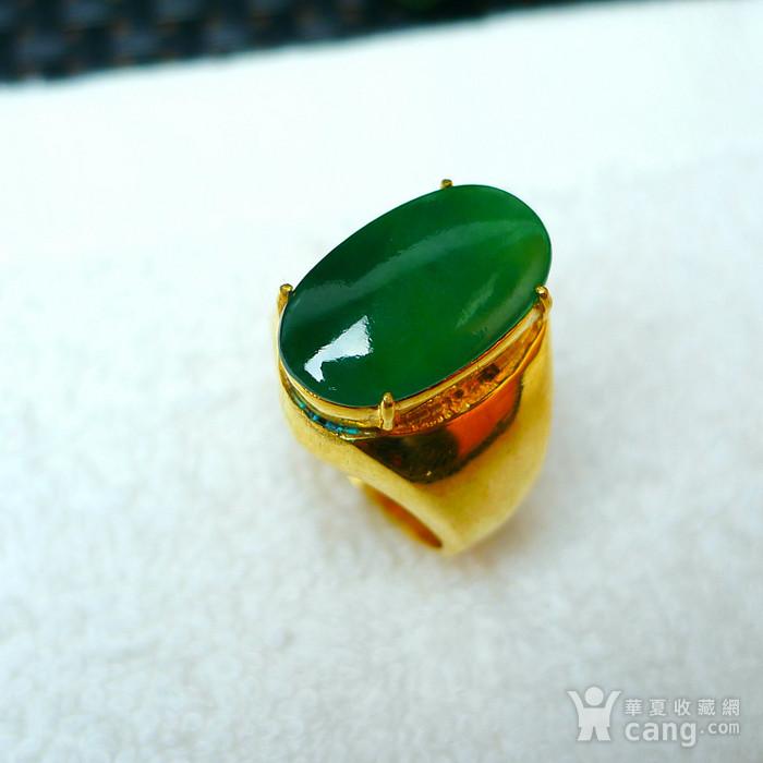 冰润满绿蛋型镶铜戒指图2