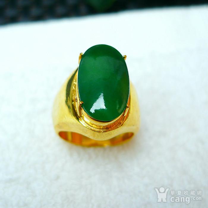冰润满绿蛋型镶铜戒指图4