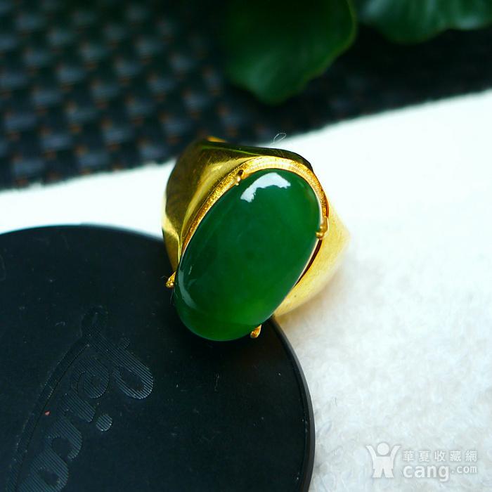 冰润满绿蛋型镶铜戒指图7