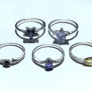 欧洲回流  古董 戒指 五枚 有 碧玺 黄晶 蓝晶 紫晶 手工打磨火彩