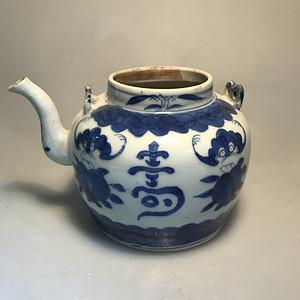 福寿纹青花茶壶