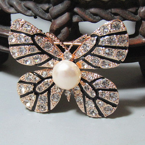 欧洲回流 珍珠 彩蝶 胸针 工艺非常好