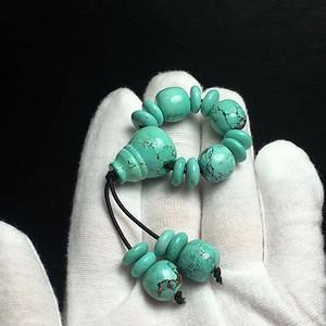 湖北十堰极品高瓷网花绿松石老型珠套装