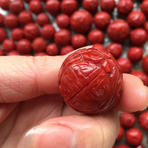 精品20mm阿卡珊瑚雕花圆珠