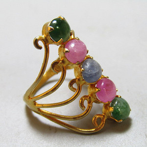 欧洲回流 斯里兰卡 多色宝石戒面戒指终身保真