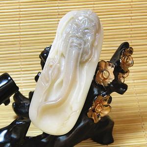 和田一级白籽玉 巧雕 关公 白如脂 润如油