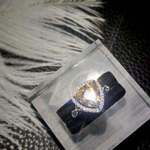 金牌 天然高级巴西金黄水晶戒指