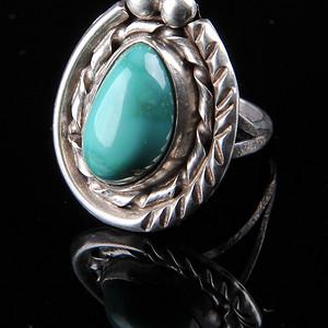 欧美回流 老天然绿松石纯银戒指