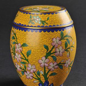 欧美回流 老铜胎掐丝珐琅花卉纹莲子罐