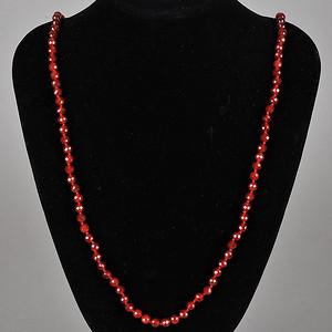 欧美回流 老天然红玛瑙切面珠项链