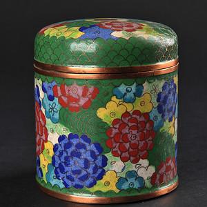 欧美回流 晚清民国铜胎掐丝珐琅花卉纹盖罐