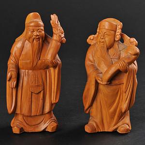 欧美回流 黄杨木人物雕件两件