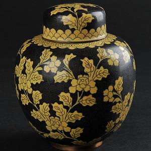 欧美回流 爆老墨地铜胎掐丝珐琅花卉纹罐