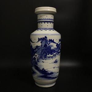 山水青花棒槌瓶