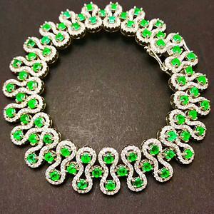 纯天然哥伦比亚祖母绿宝石手链