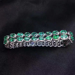天然哥伦比亚祖母绿宝石手链