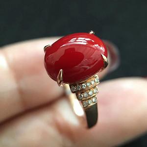 天然阿卡牛血红珊瑚戒指18k金镶嵌无优化无烤色 假一赔万
