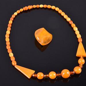 金牌 三十年代天然老蜜蜡欧式项链 材美工良,包浆润泽