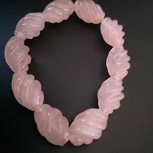 ,欧美回流 漂亮粉水晶螺纹珠手串