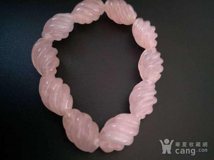 ,欧美回流 漂亮粉水晶螺纹珠手串图1