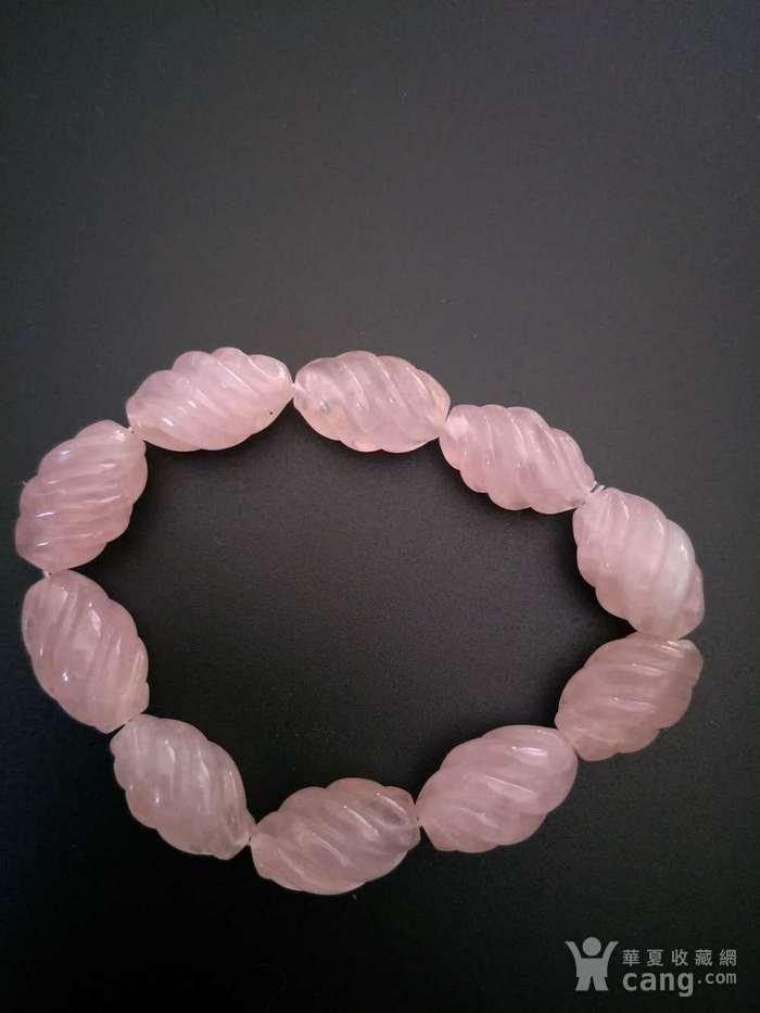 ,欧美回流 漂亮粉水晶螺纹珠手串图2
