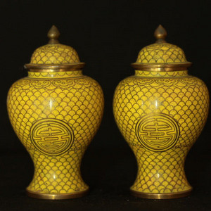 民国铜胎掐丝黄地寿字纹茶叶罐一对