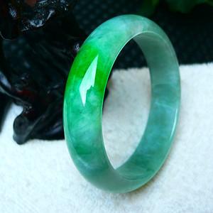 金牌 缅甸天然A货翡翠冰润带绿宽边手镯