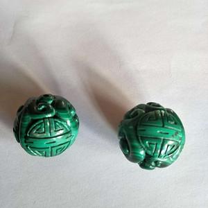 欧美回流 漂亮孔雀石团寿龙纹大球珠一对
