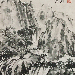 职业画家张国顺国画高山流水