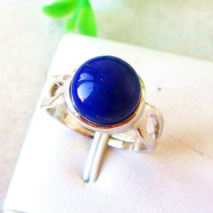 浓艳宝石蓝青金石!纯天然原色青金石满蓝高蓝纯银戒指!
