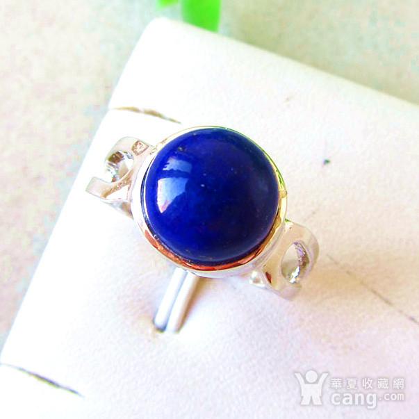 浓艳宝石蓝青金石!纯天然原色青金石满蓝高蓝纯银戒指!图2