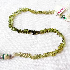 海外回流!珍贵玻璃体绿碧玺纯手工雕刻宝石刻面水滴手链
