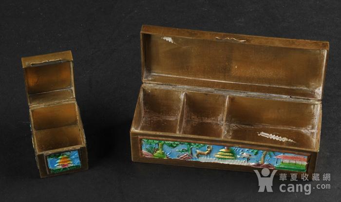 欧美回流 爆老铜胎烧蓝小盒两件图3